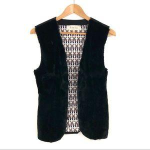 Ainsley Women's Size XS Black Rabbit Fur Vest